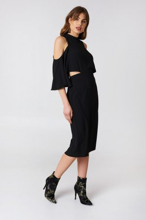 NA-KD Cut Out Tied Neck Dress - Black