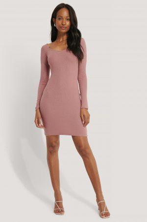 NA-KD Basic Deep Round Neck Ribbed Dress - Pink
