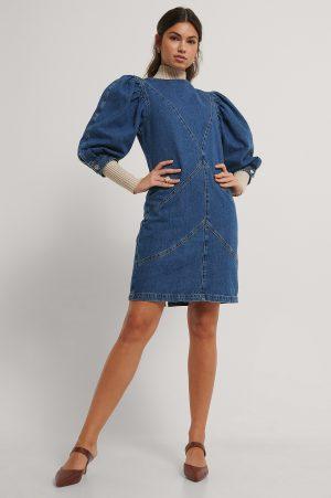 NA-KD Trend Denimklänning Med Puffärm - Blue
