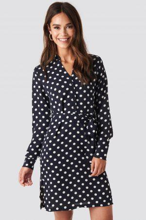 NA-KD Dotted Tie Waist Slit Dress - Blue