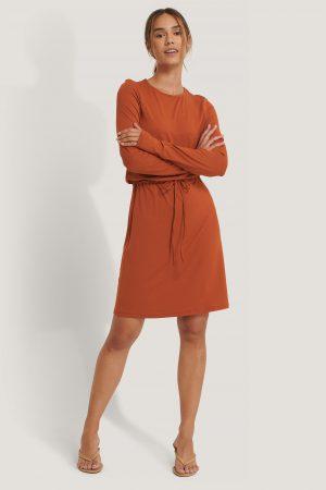NA-KD Drawstring Jersey Dress - Orange