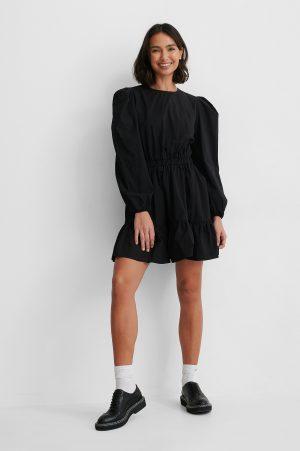 NA-KD Boho Långärmad Skjortklänning Med Elastisk Midja - Black