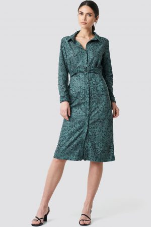 NA-KD Faux Leather Belted Dress - Green