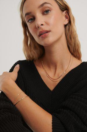 NA-KD Accessories Halsband Och Armband I Dubbelhålig Kedja - Gold
