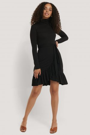 NA-KD Flounce Polo Dress - Black