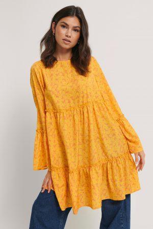 NA-KD Trend Miniklänning Med Vid Ärm - Yellow