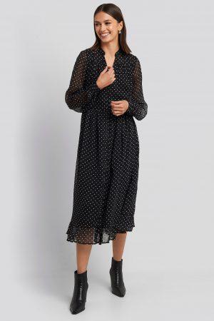 NA-KD Boho Flowy Midi Flounce Dress - Black