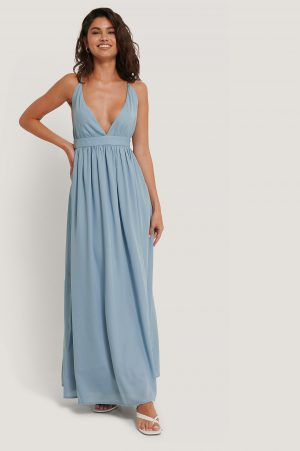 NA-KD Party Flowy Strap Dress - Blue