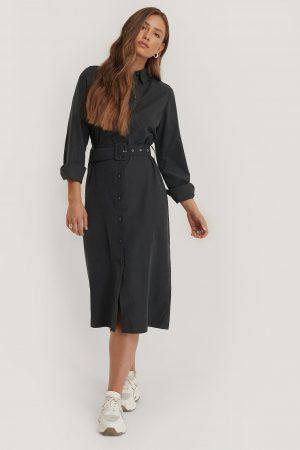 NA-KD Skjortklänning Med Skärp - Black