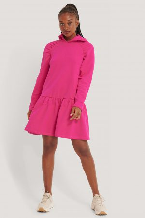 NA-KD Gathered Hoodie Dress - Pink