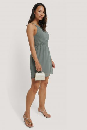 NA-KD Party Halterneck Chiffon Mini Dress - Green