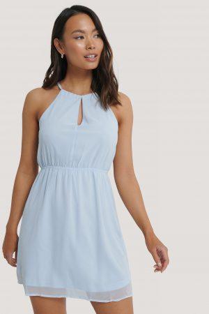 NA-KD Party Halterneck Chiffon Mini Dress - Blue