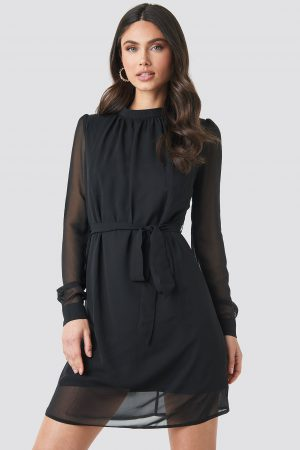NA-KD High Neck Belted Chiffon Dress - Black