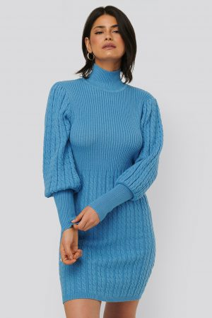 NA-KD Trend Stickad Klänning - Blue