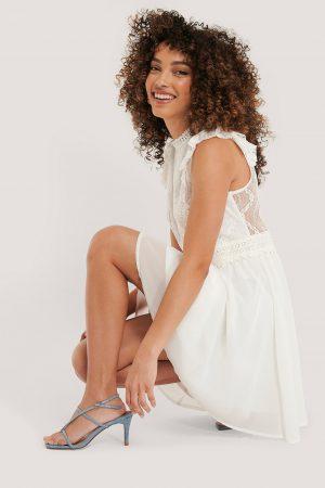 NA-KD Boho Lace Anglaise Mini Dress - White