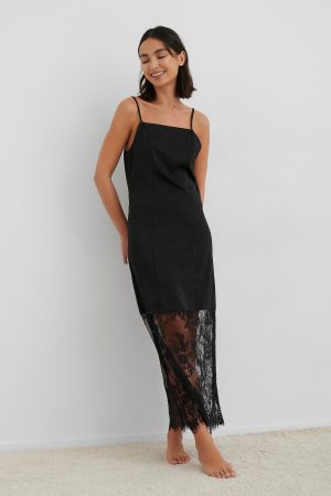 NA-KD Trend Lace Detail Satin Slip Dress - Black