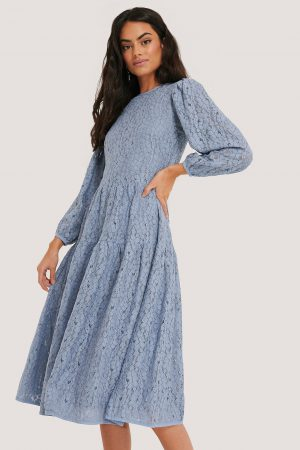 NA-KD Boho Spetsklänning Med Puffärmar - Blue