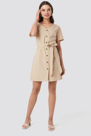 NA-KD Linen Look Buttoned Dress - Beige