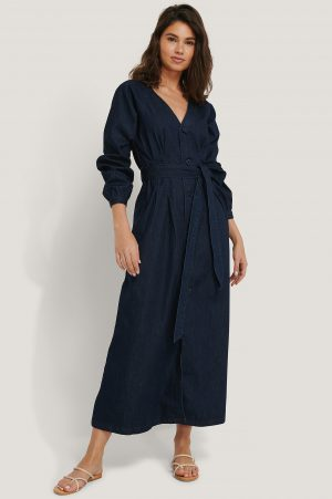NA-KD Trend Long Sleeve Denim Dress - Blue