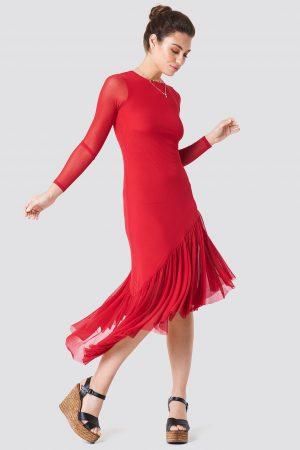 NA-KD Boho Long Sleeve Mesh Dress - Red