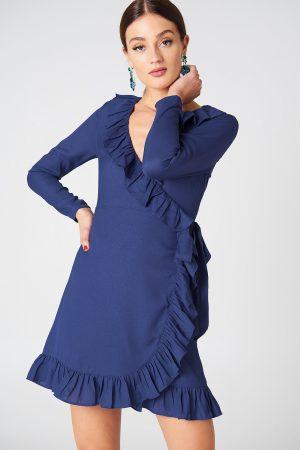 NA-KD Boho Long Sleeve Wrap Frill Dress - Blue