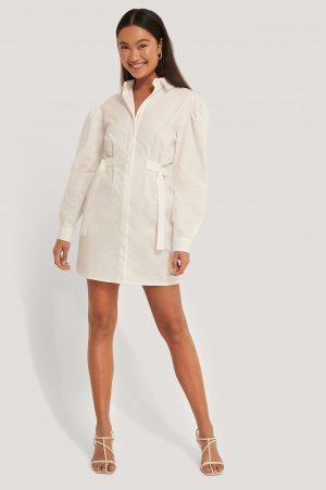 Emma Ellingsen x NA-KD Oversize Skjortklänning Med Markerad Midja - White