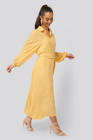 NA-KD Classic Maxi Belted Dress - Yellow