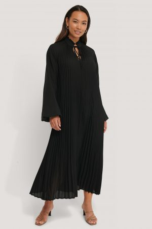 NA-KD Trend Midi Pleated Balloon Sleeve Dress - Black
