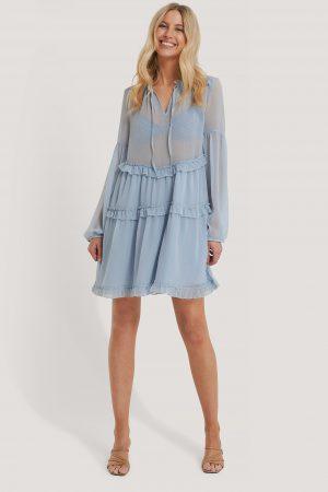 NA-KD Boho Chiffongklänning Med Krås - Blue