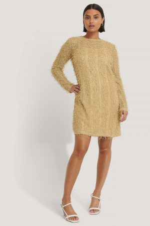 NA-KD Party Net Detail Dress - Beige