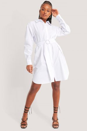 NA-KD Classic O-ring Belted Shirt Dress - White