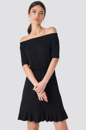 NA-KD Off Shoulder Jersey Dress - Black