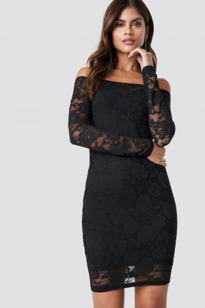 NA-KD Party Off Shoulder Lace Dress - Black