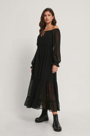 NA-KD Party Off Shoulder-Klänning - Black