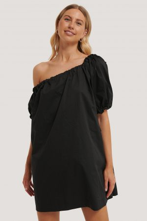 NA-KD Trend One Shoulder Cotton Dress - Black