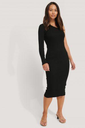 NA-KD Trend One Shoulder Ribbed Midi Dress - Black