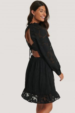 NA-KD Boho Open Back Flower Applique Dress - Black