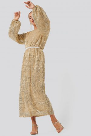 NA-KD Party Open Back Sequin Dress - Gold