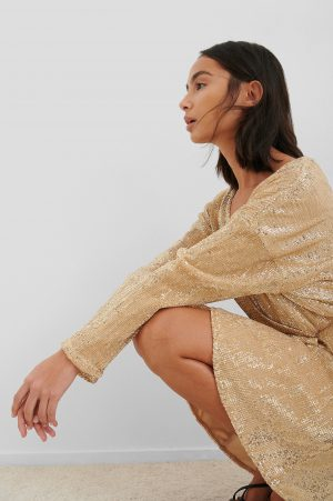 NA-KD Party Overlap Sequin Mini Dress - Gold