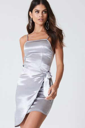 Kristin Sundberg for NA-KD Overlapped Tie Front Dress - Silver