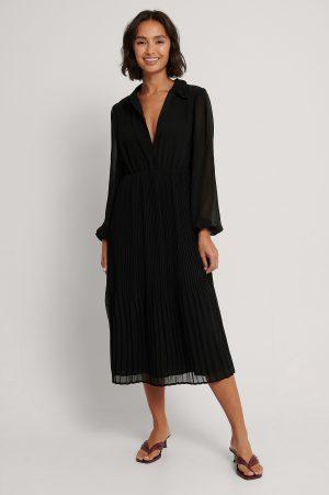 NA-KD Plisserad Skjortklänning - Black
