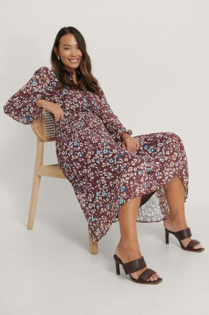 NA-KD Plisserad Skjortklänning - Burgundy