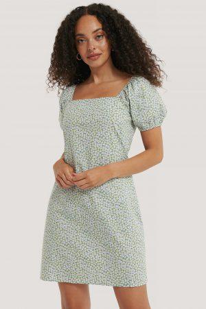 NA-KD Boho Miniklänning Med Tryck Och Fyrkantig Halsringning - Green