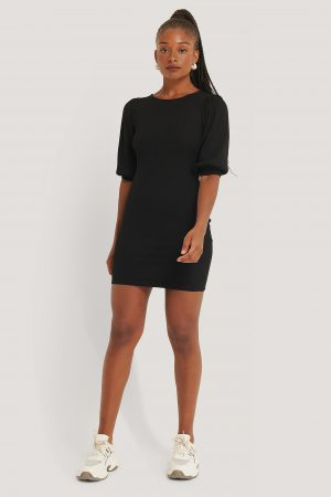 NA-KD Trend Puff Half Sleeve Ribbed Mini Dress - Black