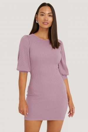 NA-KD Trend Puff Half Sleeve Ribbed Mini Dress - Purple