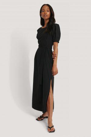NA-KD Boho Puff Sleeve Belted Maxi Dress - Black