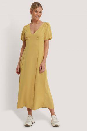 NA-KD Trend Klänning Med Puffärm - Yellow