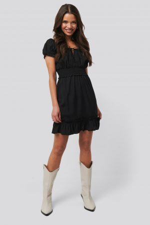 NA-KD Boho Puff Sleeve Mini Flounce Dress - Black