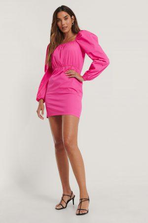 NA-KD Trend Klänning Med Puffärm Och Fyrkantig Halsringning - Pink