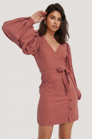 NA-KD Trend Puff Sleeve Tie Waist Dress - Pink